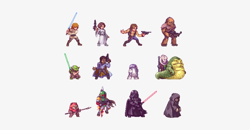 Starwars,fandoms,pixel Art,yoda,chewbacca,darth Vader,r2d2, - 32 Bit