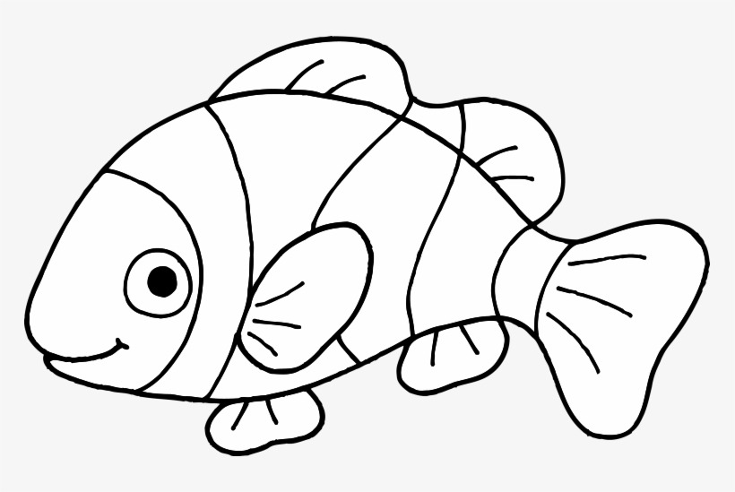 Free Coloring Pages Of Clown Fish Outline Coloring - Clip Art Fish Black  And White Transparent PNG - 765x469 - Free Download On NicePNG