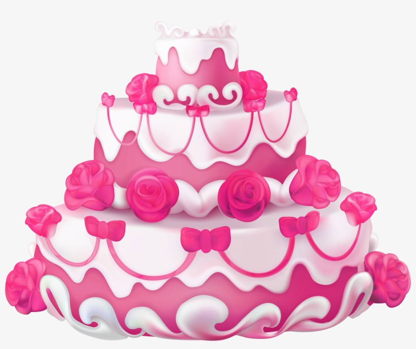 Pink Cake Clip Art At Clker Happy Birthday Sister In Tamil