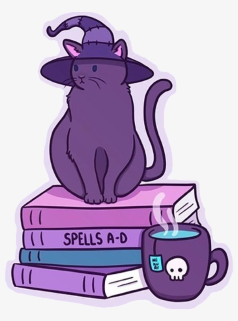 Halloween Stickers Aesthetic.Halloween Cat Wich Spooky Violet Purple Spells Skull Witch