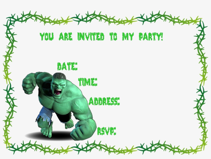 Creativeprintables Free Incredible Birthday Invitation Template With Hulk