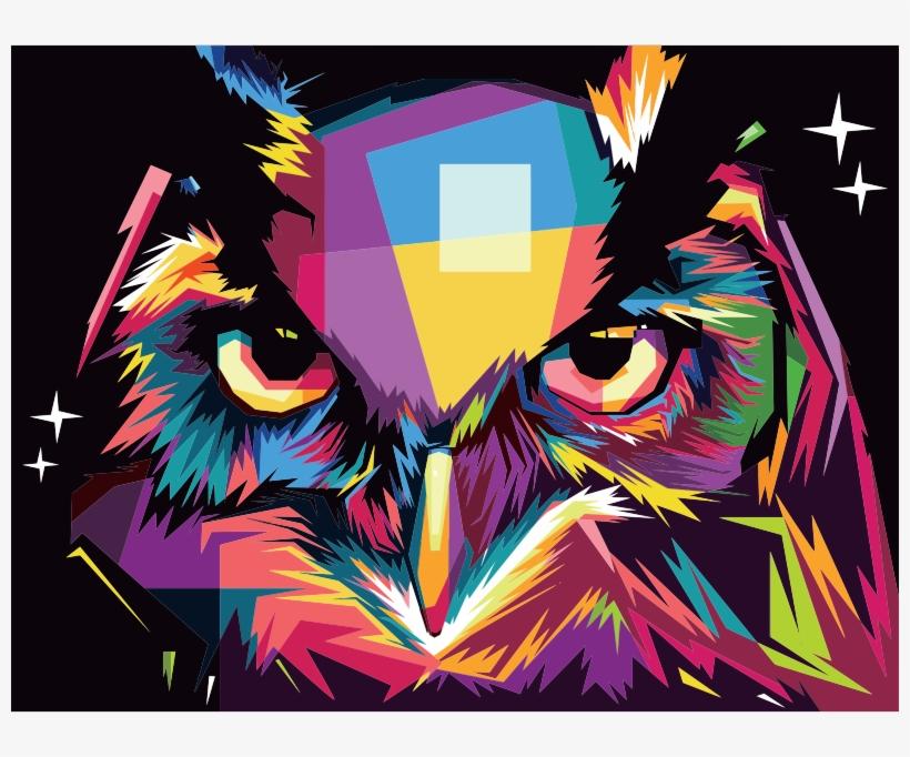 Geometric Owl Pop Art By Rizkydwi123 Gambar Keren Burung Hantu Transparent Png 800x602 Free Download On Nicepng