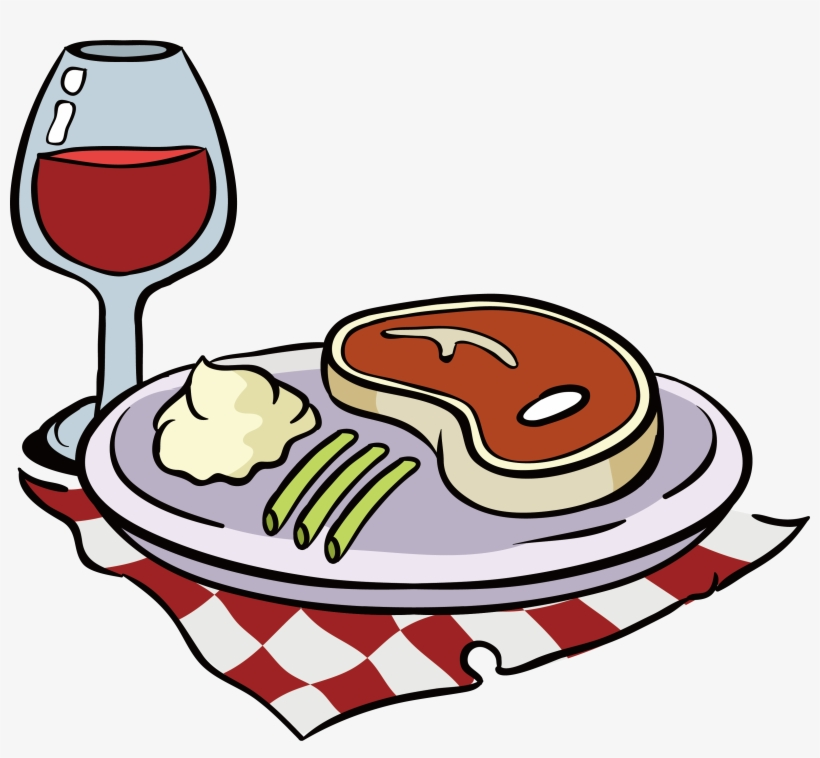 Png Download Red Wine Beefsteak Clip Art Plaid Tablecloth Steak And Wine Cartoon Transparent Png 3161x2771 Free Download On Nicepng