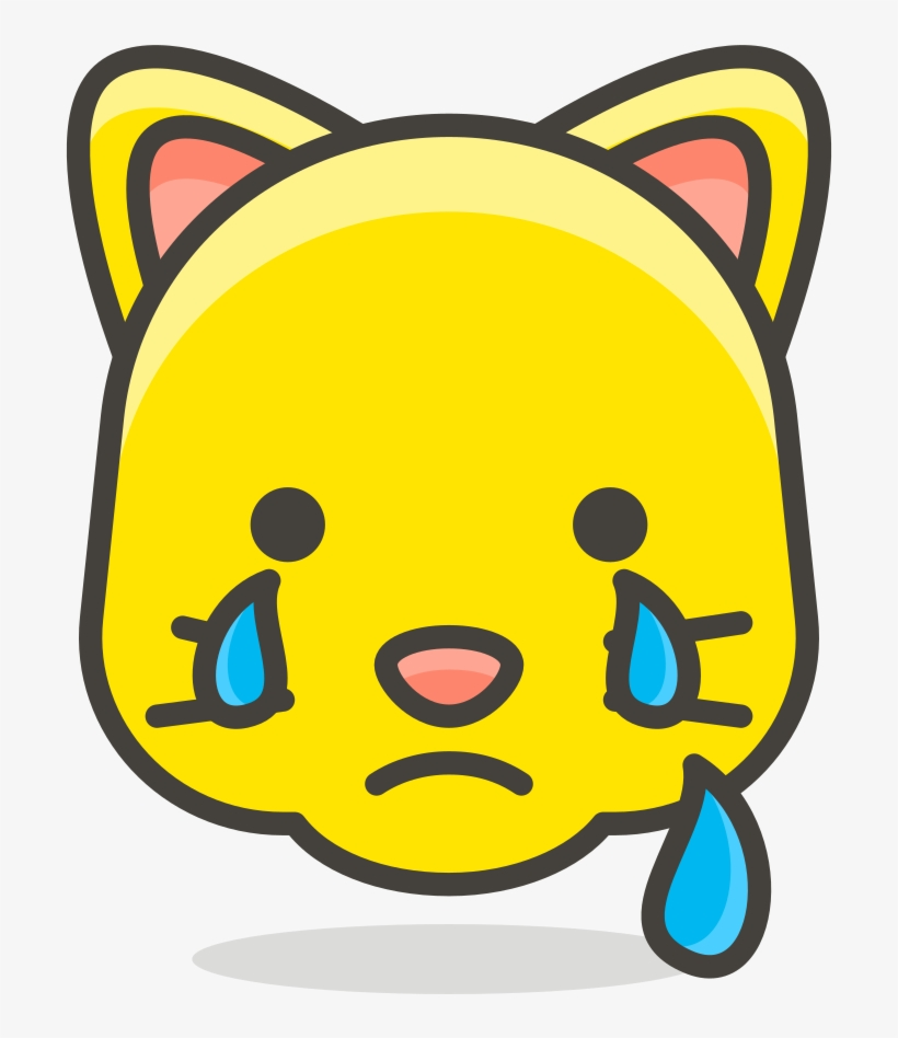 103 Crying Cat Face Draw Heart Eye Emoji Transparent Png