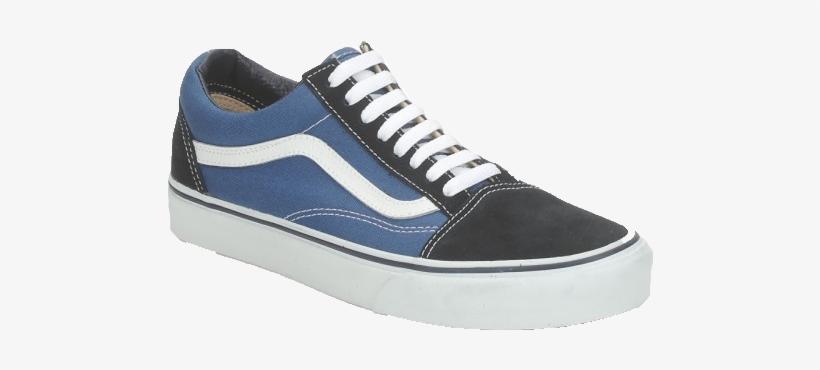 Vans - Blue Black Old Skool Canvas Shoes Men Black Transparent PNG ...