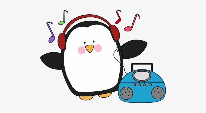 Penguin Pencil And In Color - Penguin Listening To Music Clipart  Transparent PNG - 500x369 - Free Download on NicePNG