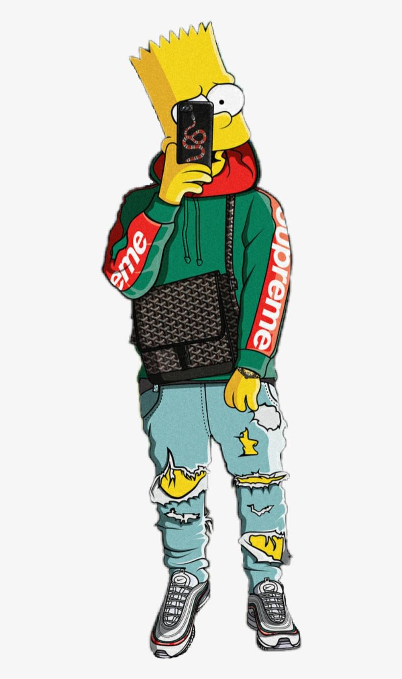411 X 1305 14 - Bape Supreme Bart Simpson Transparent PNG ...