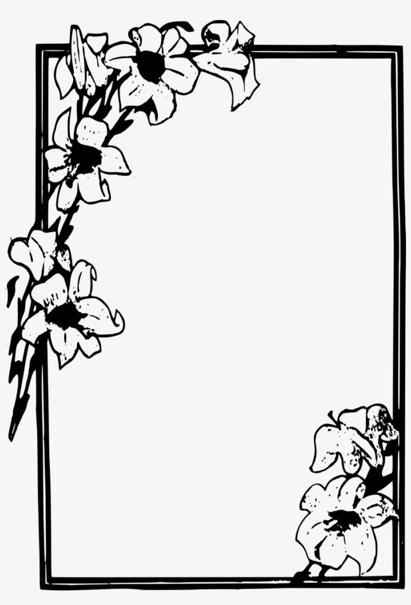 Simple Flower Frame Clipart Picture Frames Flower Clip - Flower Frames For Drawing