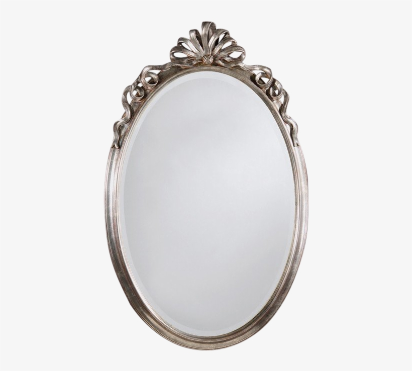 Neo Classic Oval Ribbon Carved Silver Mirror Mirror Transparent Png 750x750 Free Download On Nicepng