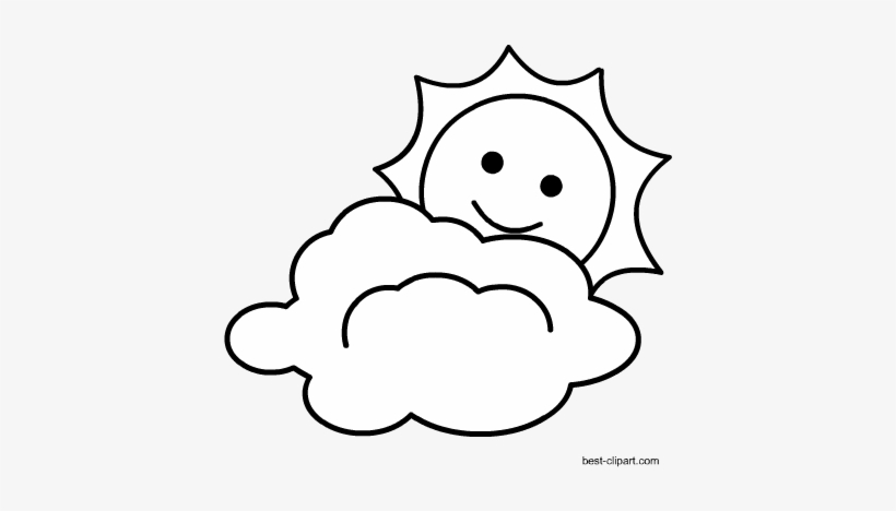 Sun And Cloud Black And White Clipart Clip Art Transparent Png