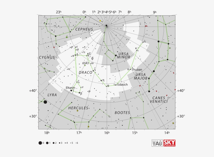Draco The Dragon - Draco Constellation Star Map Transparent PNG