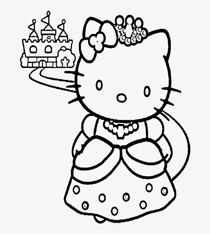 Hello Kitty And A Nice Castle Coloring Page Coloring Pages To Print Princess Transparent Png 700x902 Free Download On Nicepng