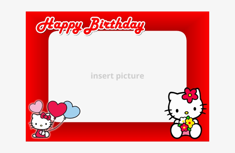 Download Free Printable Hello Kitty Png Frame Red Baby Shower