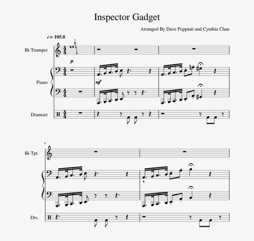 Inspector Gadget Sheet Music For Piano, Trumpet, Percussion - Sheet