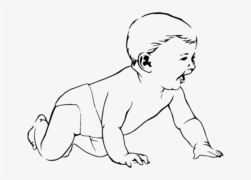 Baby white. Fox silhouette crawling clipart