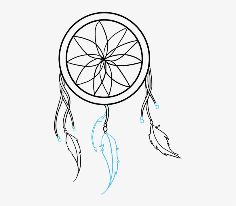 How To Draw Dream Catcher Simple Dreamcatcher Drawing Transparent
