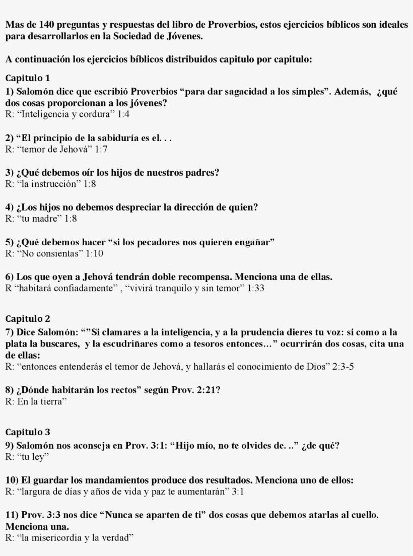 Mas De 140 Preguntas Y Respuestas Del Libro De Proverbios Resume Transparent Png 1700x2200 Free Download On Nicepng
