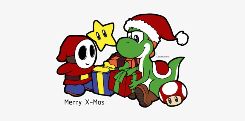 Simple X Mas Related Drawing Yoshi And Shy Guy Transparent Png