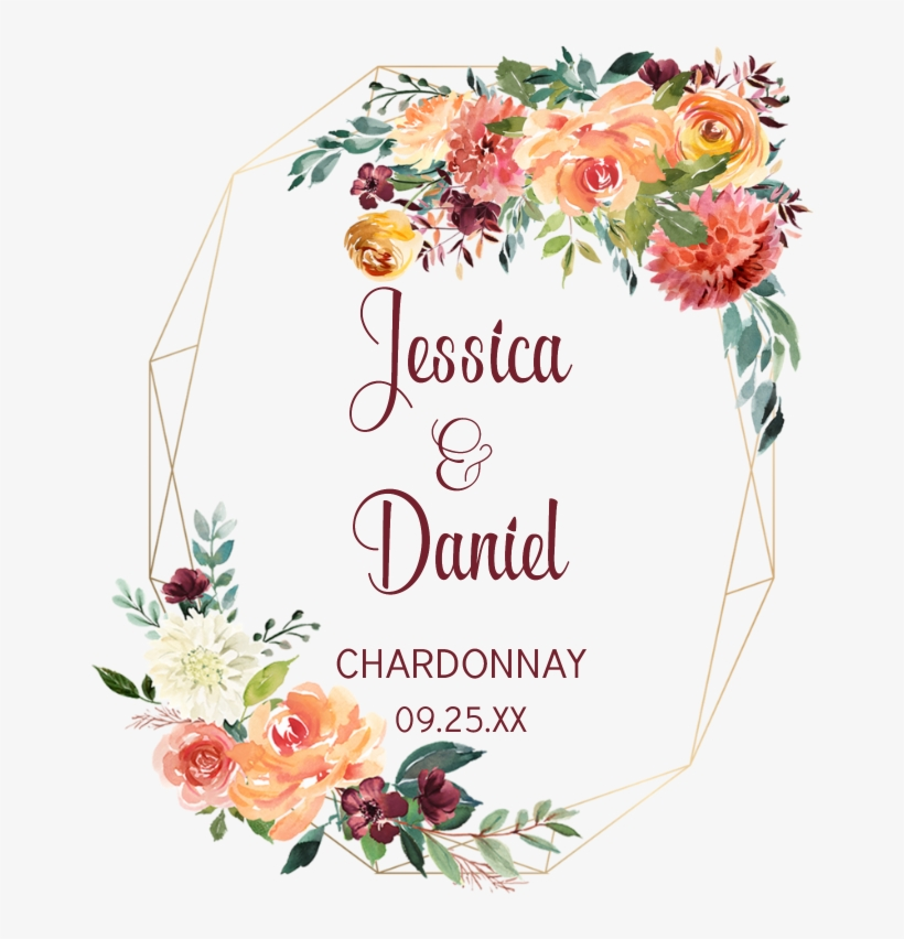 Floral Gold Geometric Frame Watercolor Floral Border Png