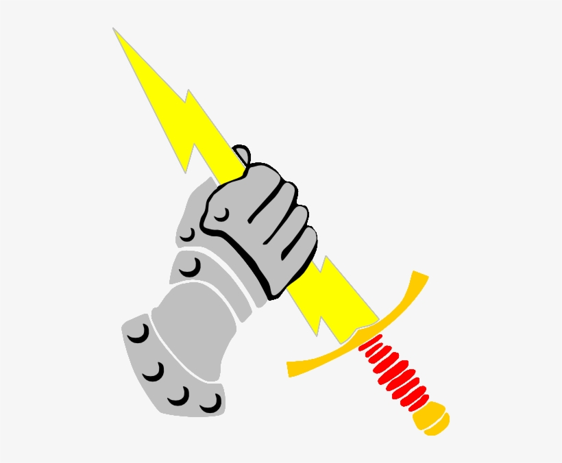 Lightning bolt hand holding. Sword clip art clipart