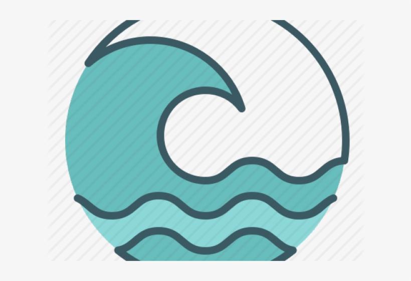 Wave tsunami. Clipart ocean sun and