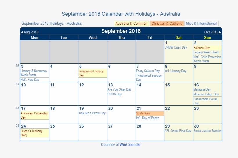 Print Friendly September 2018 Australia Calendar For - Feb