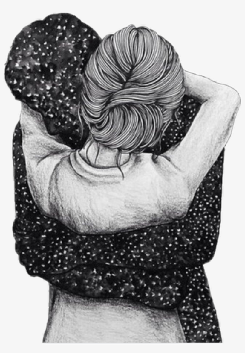 girl #man #hug #space #galaxy #stars #star #draw - Love Drawings
