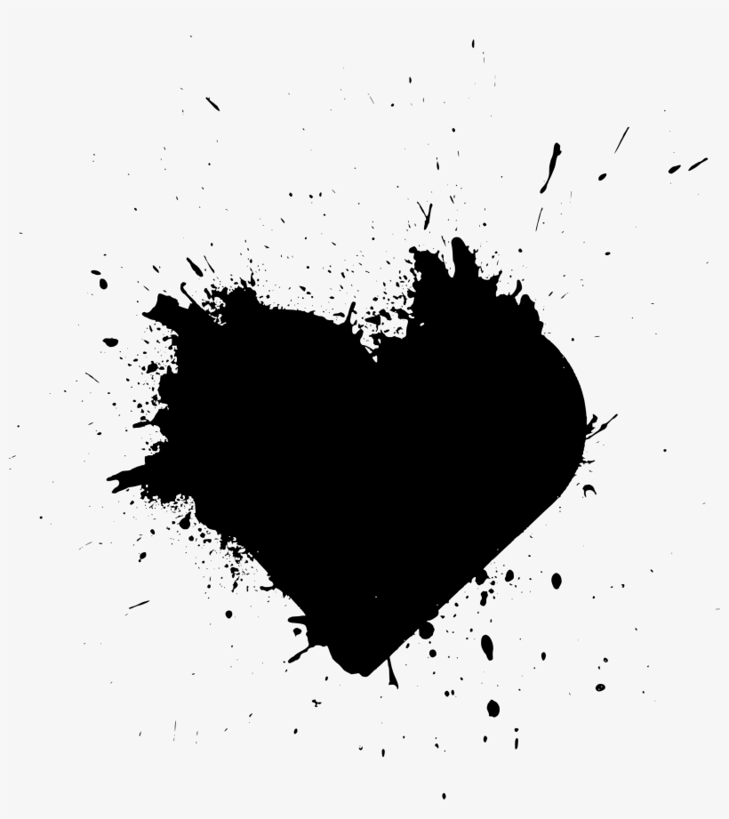 Free Download Black Paint Splash Heart Transparent Png 2883x3099 Free Download On Nicepng