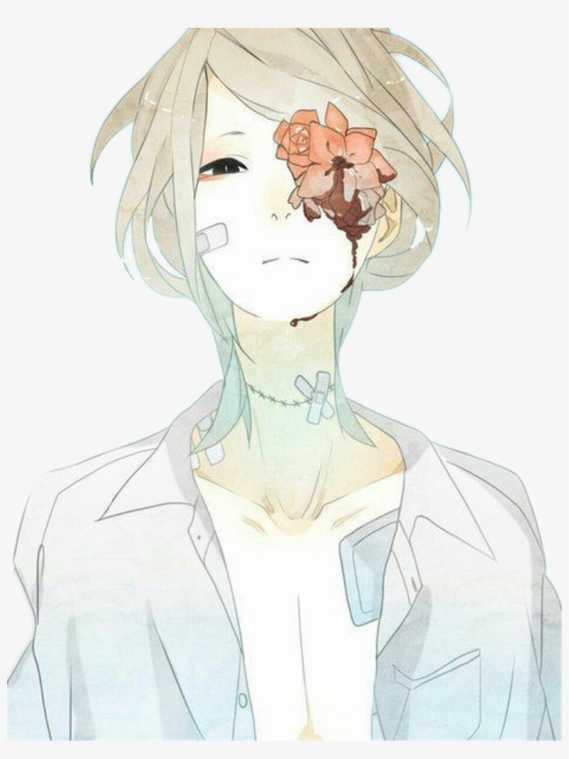 Animeboy Handsome Aesthetic Gore Flower Aesthetic Depressed Anime Girl Transparent Png 1024x1317 Free Download On Nicepng