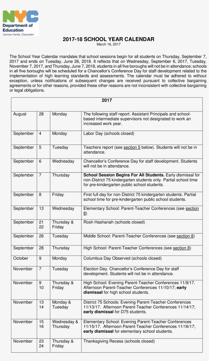 Nyc Doe School Calendar.School Year Calendar New York City Department Of Education