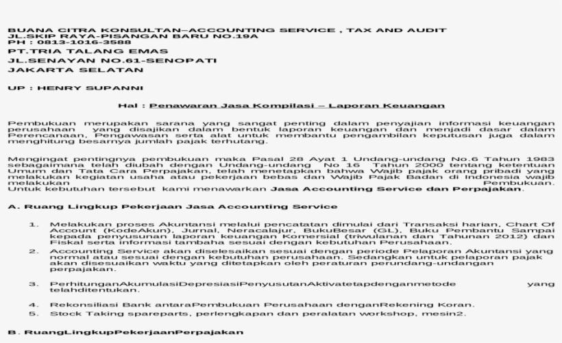 Surat Penawaran Jasa Kompilasi Laporan Keuangan Contoh Surat Penawaran Jasa Konsultan Pajak Transparent Png 1200x630 Free Download On Nicepng