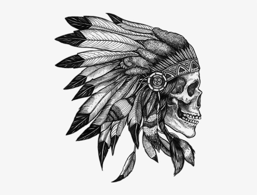 e0022bf43 Skull Native Americannative Indian Feather Draw Tattoo - Indian Chief Tattoo