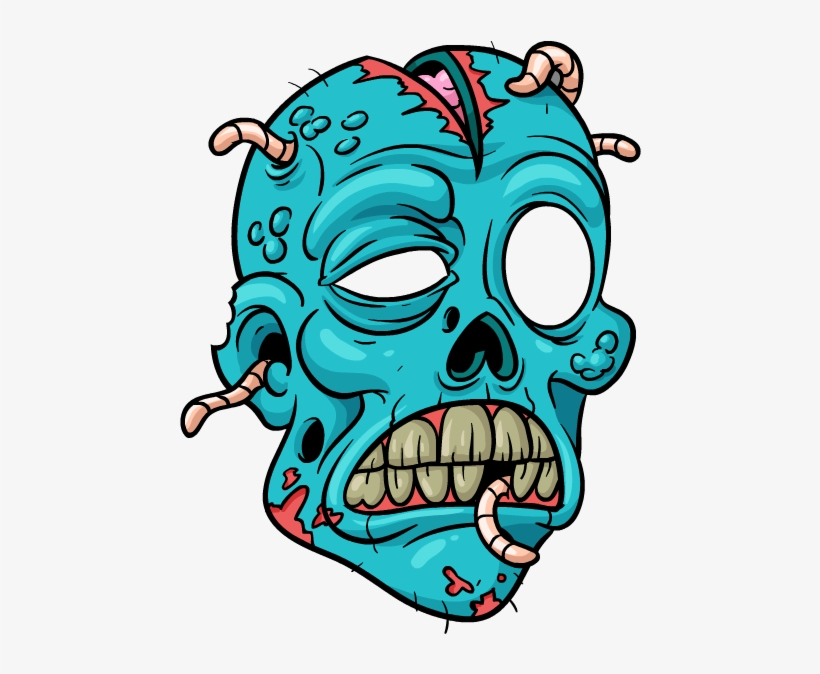 Scary Face Cartoon Png Zombie Head Drawings Transparent Png