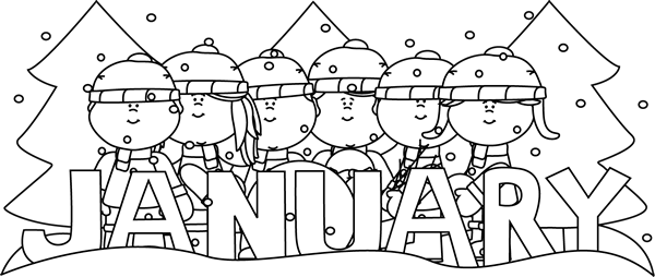 Download Hd Black And White Month Of January Winter Kids Clip Art January Clip Art Black And White Transparent Png Image Nicepng Com