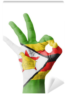 Download HD Hand Making Ok Sign, Zimbabwe Flag Painted Wall