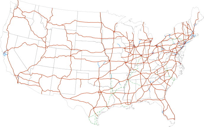Download HD Interstate Highway System Main - Map Of Us ...