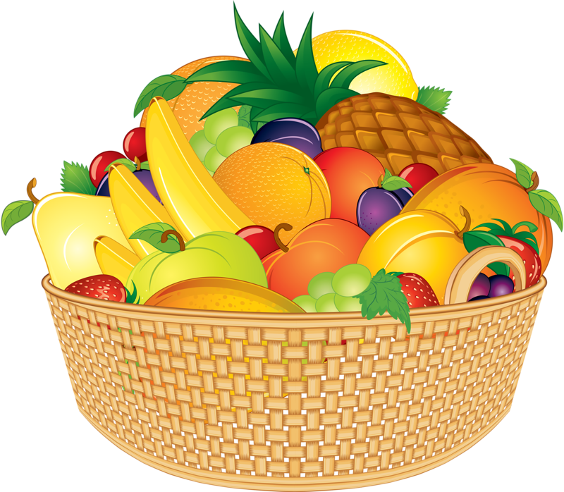 Fruit Basket Fruits And Vegetables Pictures, Food Clipart, - Fruits Basket Clip Art (800x698), Png Download