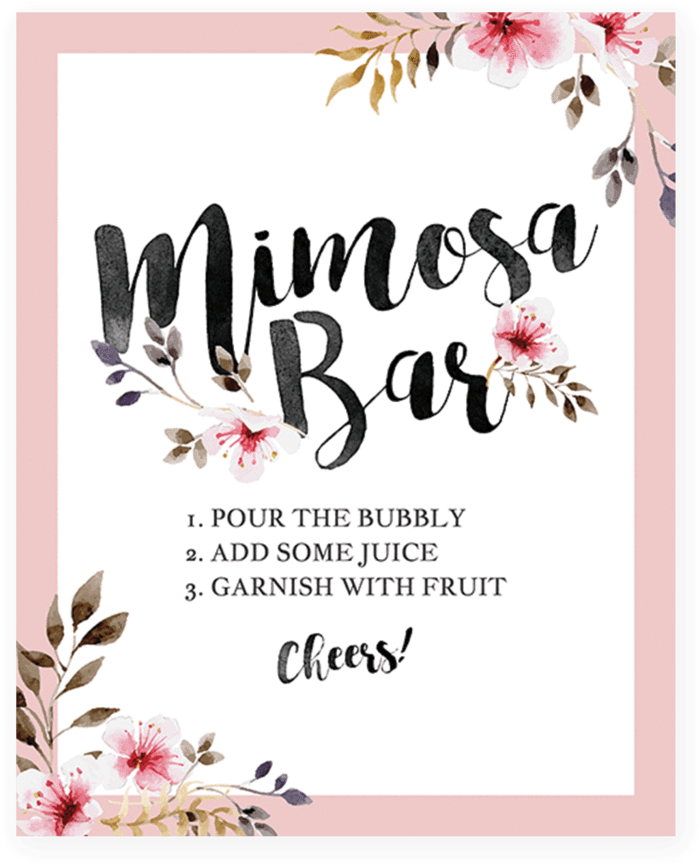 picture about Mimosa Bar Sign Printable Free identify Down load High definition Blush Red Floral Mimosa Bar Indicator Printable Via