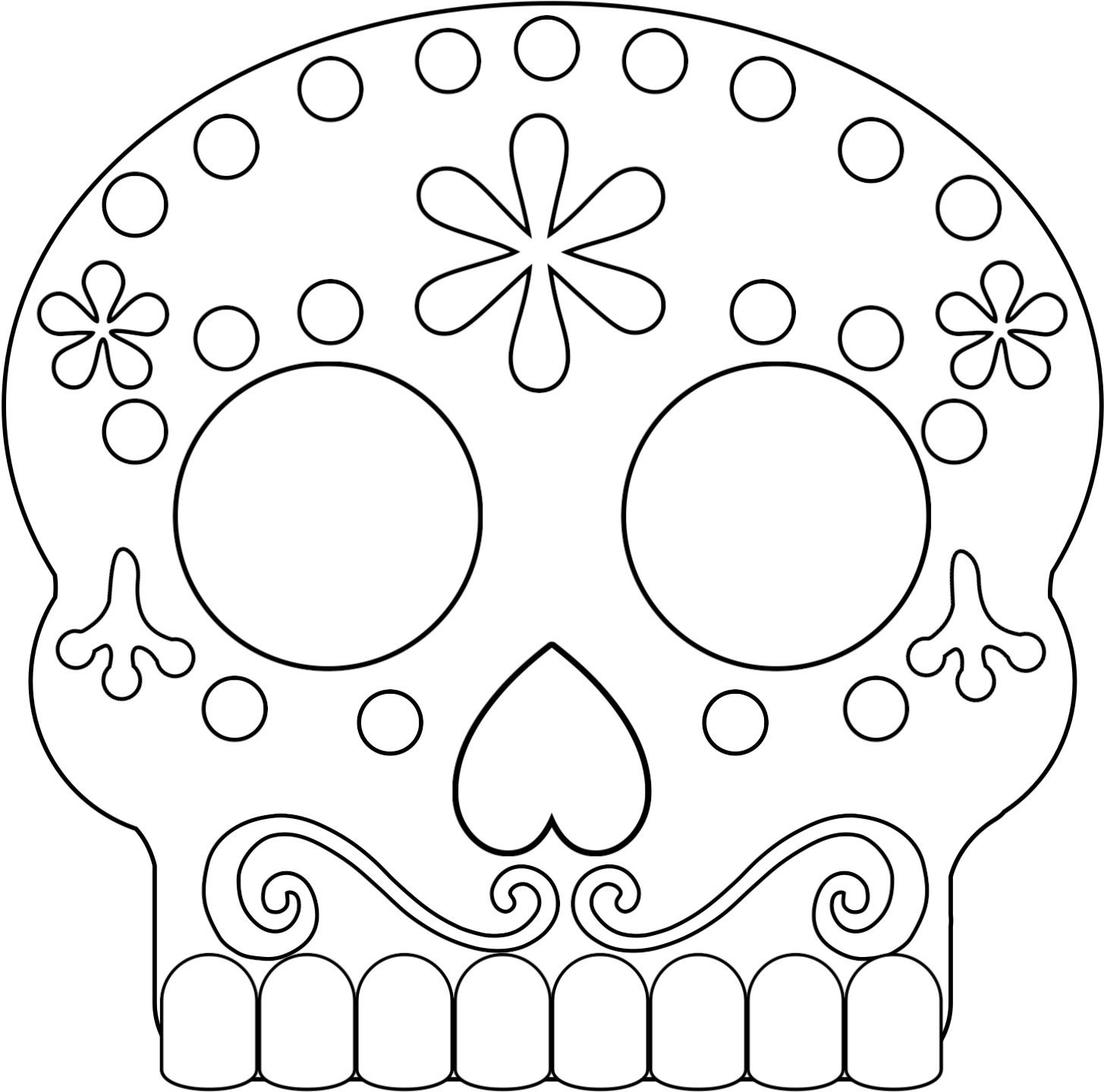 Sugar Skull Coco Coloring Pages, HD Png Download - vhv | 1440x1455