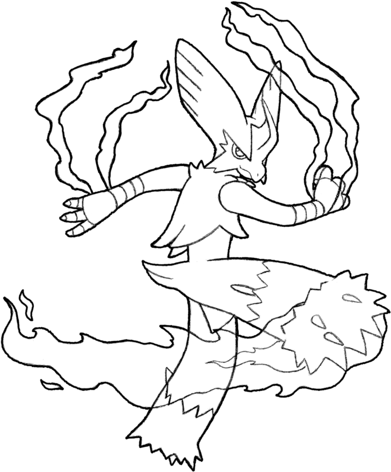 Mega Blaziken Coloring Pages Black And White 791x1011 Png