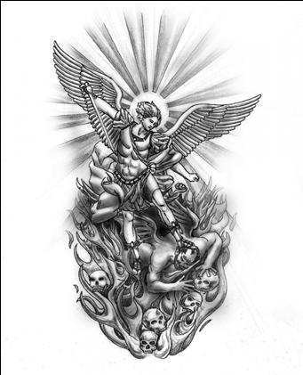 Download Hd Drawn Tattoo Custom San Miguel Arcangel Tattoo Design