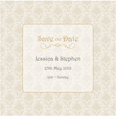 Download HD Save The Date Vintage Lace 3d View - Paper