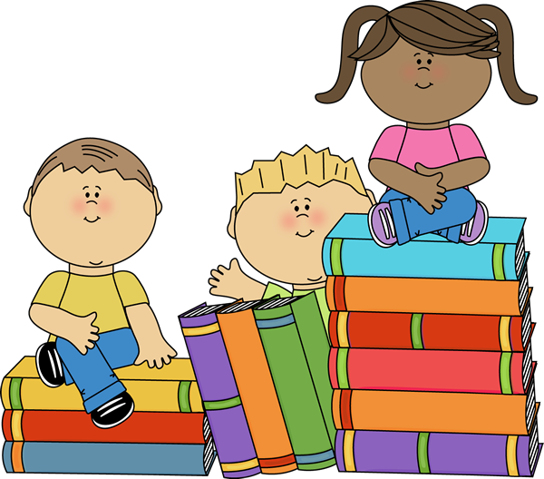 Kids Sitting On Books Clip Art Image Stack Of Big Books - Kids Studying Clipart (600x528), Png Download