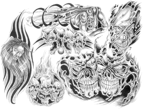 Download Hd Transparent Tattoo Designs Tattoo Design Skulls Flames