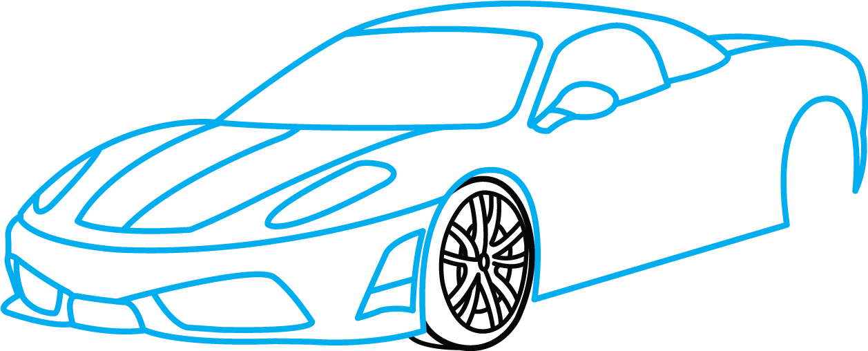 Download HD How To Draw Ferrari , Sports Car Drawing Easy