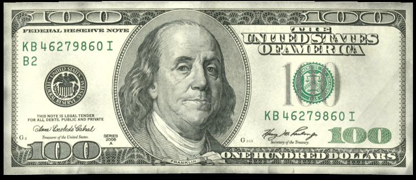 Download HD Dollar Vector $100 - 100 Dollar Bill Back ...