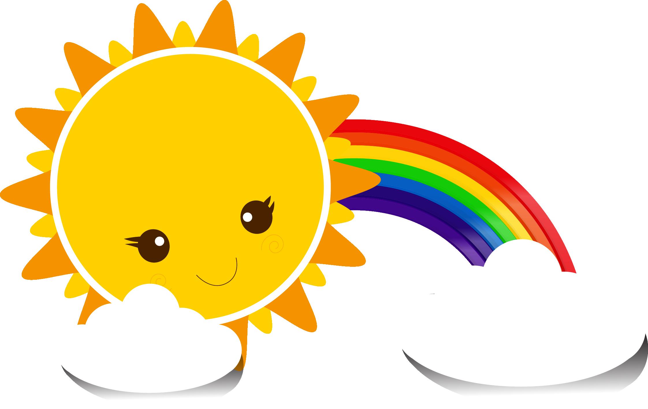 Картинка радуга и солнышко на прозрачном фоне