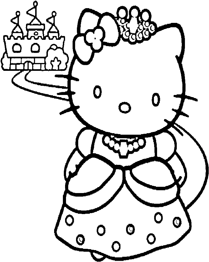 Download Hd Hello Kitty And A Nice Castle Coloring Page Coloring Pages To Print Princess Transparent Png Image Nicepng Com