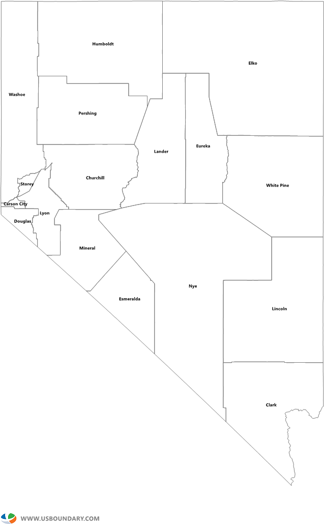 Download Hd Nevada Counties Outline Map Printable Nevada