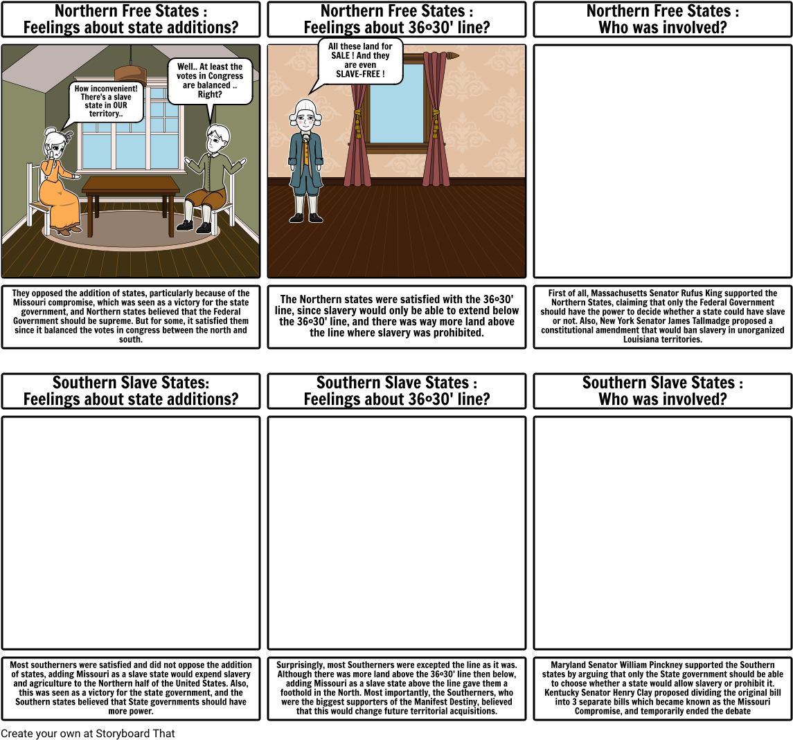 Download HD North Vs South - Missouri Compromise Storyboards